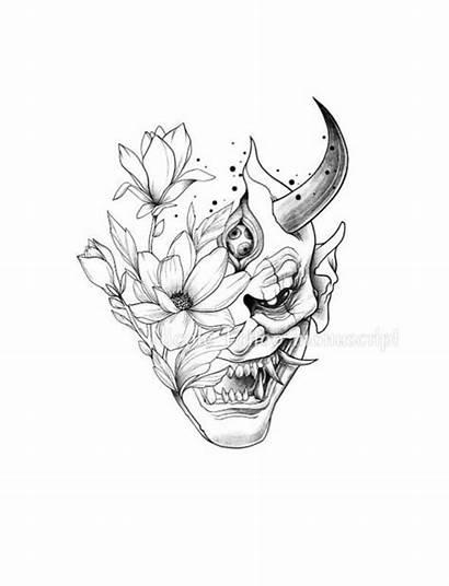 Oni Tattoo Mask Japanese Hannya Samurai Tattoos