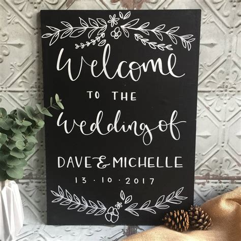 Personalised Chalkboard Wedding Welcome Sign By Mee And Es
