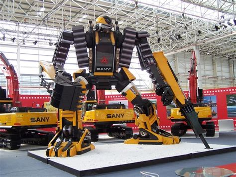 transformer style sany concept excavator robot  display