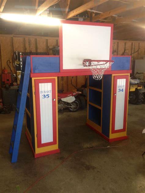 loft bed   bookcases  lockers ladder  basketball