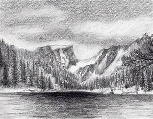 Drawn texture landscape drawing - Pencil and in color ...