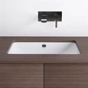 Vasque a encastrer par dessous rectangulaire 59 x 39 cm for Salle de bain design avec vasque a encastrer par dessous