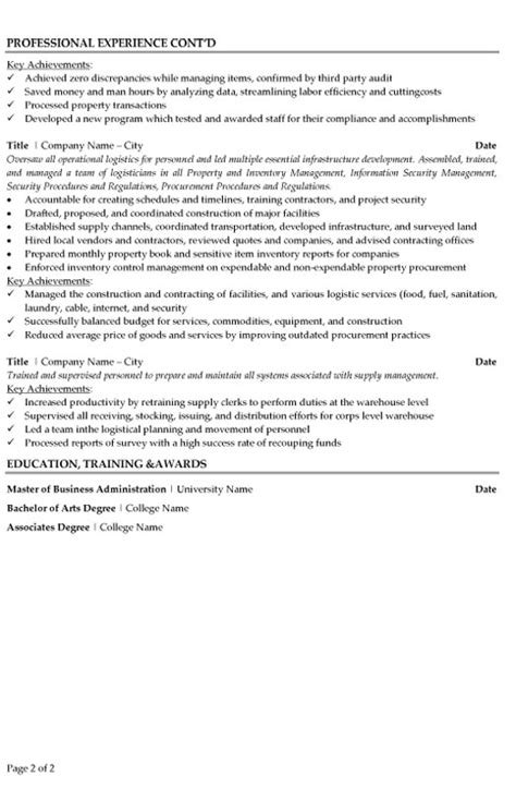 Supply Chain Manager Resume by Supply Chain Manager Resume Sle Template
