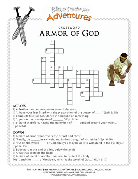 bible crossword puzzle armor of god bible sunday