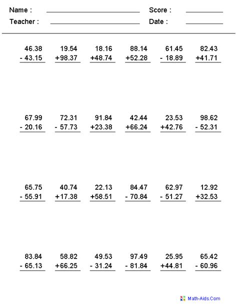 adding and subtracting with decimals worksheets this worksheet was built to aligns to common