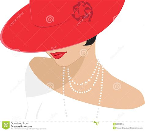 lady   red hat stock vector illustration  neck