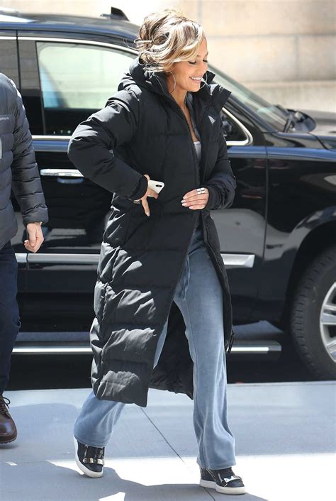 jennifer lopez   black puffer coat   set