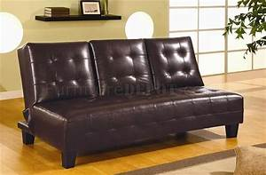 Dark chocolate brown bycast leather sofa bed w flip down tray for Flip down sofa bed