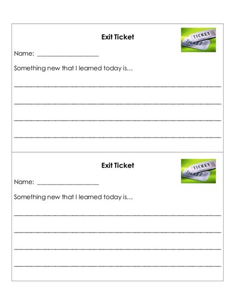 Exit Ticket Template Exit Ticket Template Cyberuse