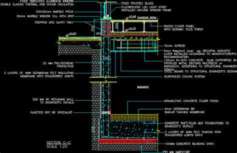 basement tank raised floor wall  window section dwg