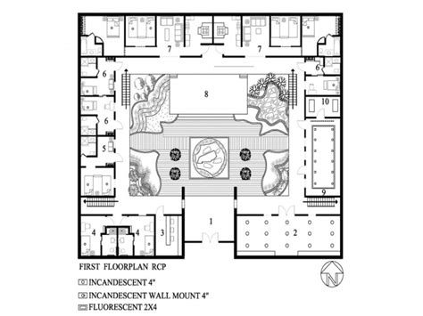 modern house plans  courtyard  open courtyard house