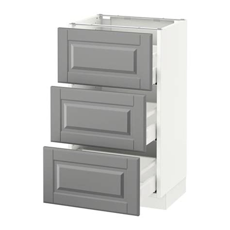 kitchen base cabinets with drawers ikea sektion base cabinet with 3 drawers white bodbyn gray