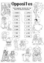 images  opposites worksheets coloring pages
