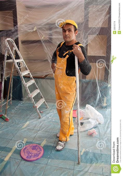 painters painting construction worker stock images image