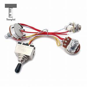 Tooyful Guitar Pickup Wiring Harness Kit 3 Way Toggle Switch 500k Pots For Electric Guitar Cigar