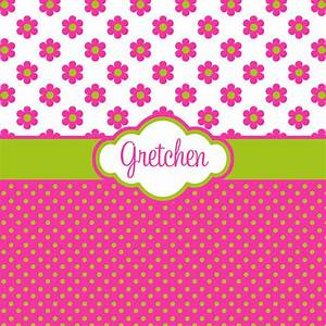 Hot Pink Flower and Polka Dot with Lime Green Personalized