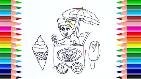 draw ice cream cart  kids coloring book cart