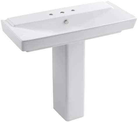 wide base pedestal sink faucet com k 5149 8 0 in white by kohler