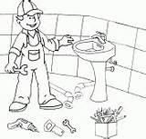 Plumber Coloring Installs Washbasin sketch template