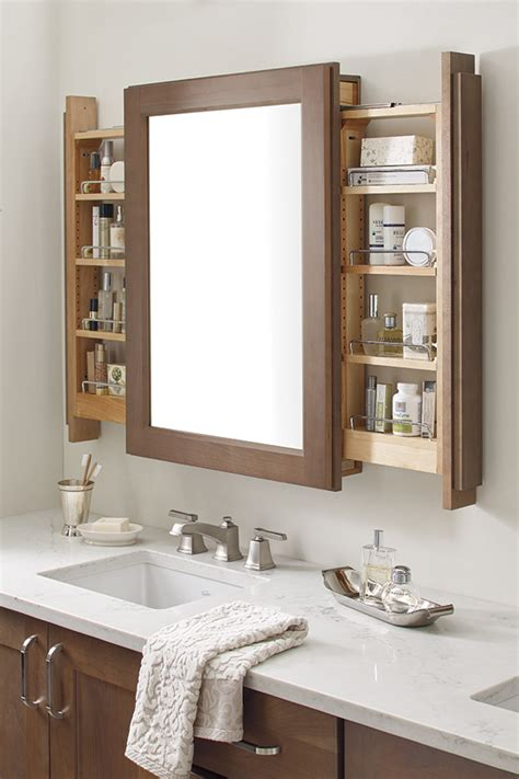 vanity mirror cabinet with side pullouts