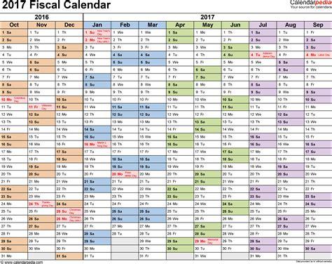 fiscal calendars    printable  templates