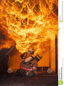 Fire fighting training. stock photo. Image of protection ...