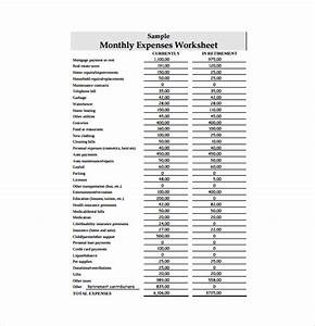 monthly expense worksheet worksheets releaseboard free With monthly living expenses template