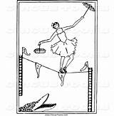 Tightrope Walker Coloring Pages Circus Walking Clipart Rope Tight Ballerina Template Alligator sketch template