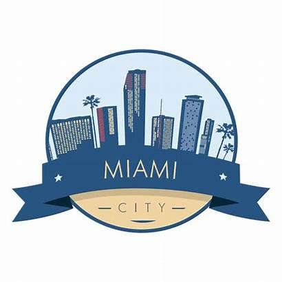 Miami Skyline Transparent Svg Badge Emblema Cidade