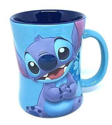 lilo stitch  blue flower cute smile ceramic mug cup coffee tea juice drink ebay
