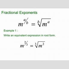 Fractional And Negative Exponents