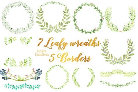 watercolor laurel foliage wreaths illustrations creative market