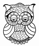 Coloring Owl Pages Adults Cute Detailed sketch template