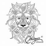 Coloring Pages Mandala Lion Tiger Liger Animal Kleurplaten Cat Adult Wereld Dieren Colouring Refugee Printable Mijn Wonderlijke Books Masja Lions sketch template