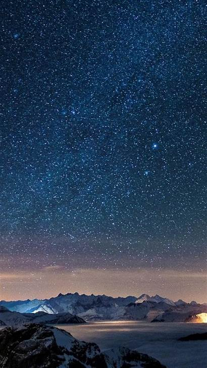 Sky Iphone Night Stars Starry Wallpapers Wall