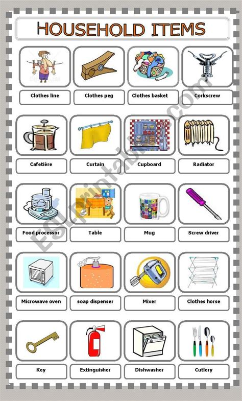 household items pictionary esl worksheet  serkanserkan