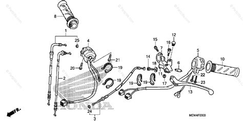 honda motorcycle 2010 oem parts diagram for handle lever switch cable partzilla