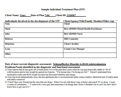 counseling treatment plan template pdf 8 treatment plan templates sle templates