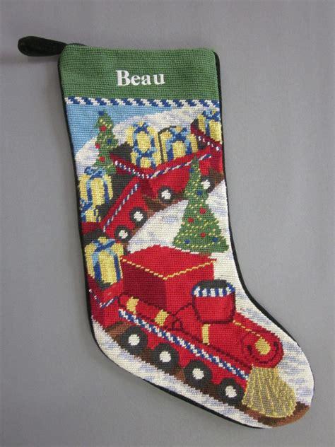 lands  needlepoint christmas stocking beau monogrammed