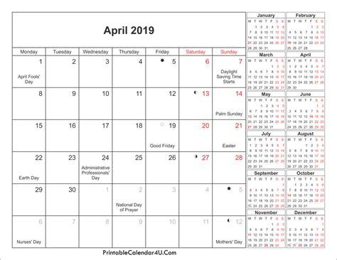 April 2019 Calendar With Holidays