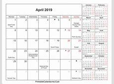 April 2019 Calendar With Holidays printable 2018 calendars