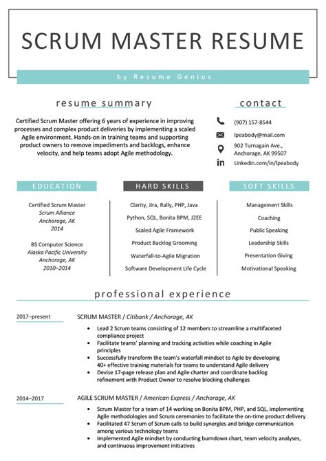 scrum master resume sample writing tips resume genius