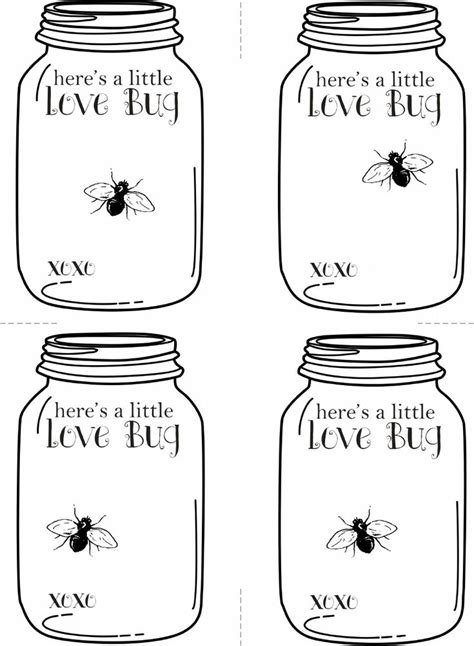 Valentine Love Bug Jar Template