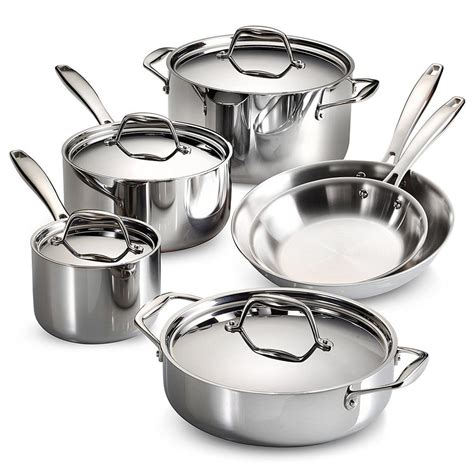 tramontina gourmet tri ply clad  piece stainless steel cookware set  lids ds