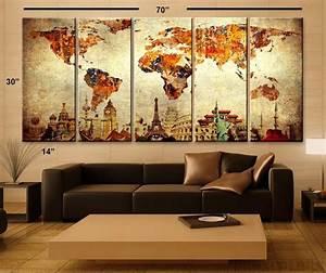 Carte Du Monde Deco Murale : 1001 id es d coration murale salon l 39 esth tisme ~ Dailycaller-alerts.com Idées de Décoration