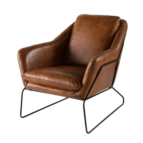 fauteuil en cuir fauteuil en cuir marron majestic maisons du monde