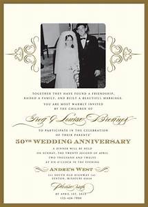 golden 50th anniversary party invitation With 50th wedding anniversary invitation wording