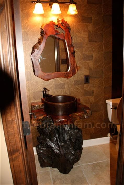 growth redwood burl vanity  copper sink  pump