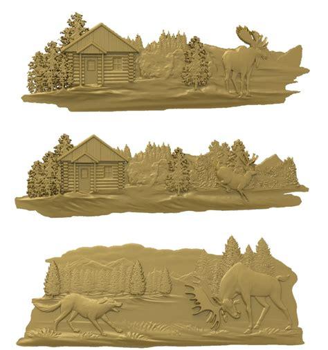 pieces deer  model relief stl model  cnc router carving engraving artcam type aspire