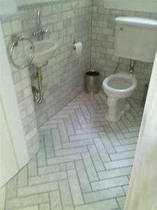 Herringbone marble tiles - Traditional - Bathroom - san